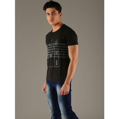 Flying Machine Men Black Slim Fit Striped Round Neck T-shirt