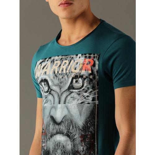 Flying Machine Men Teal Blue Printed Round Neck T-shirt