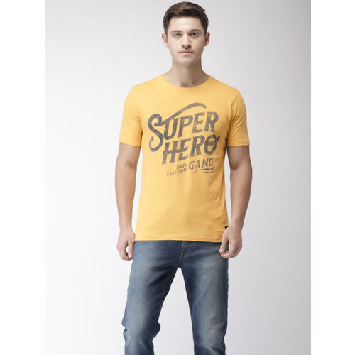 Flying Machine Men Yellow Printed Round Neck T-shirt