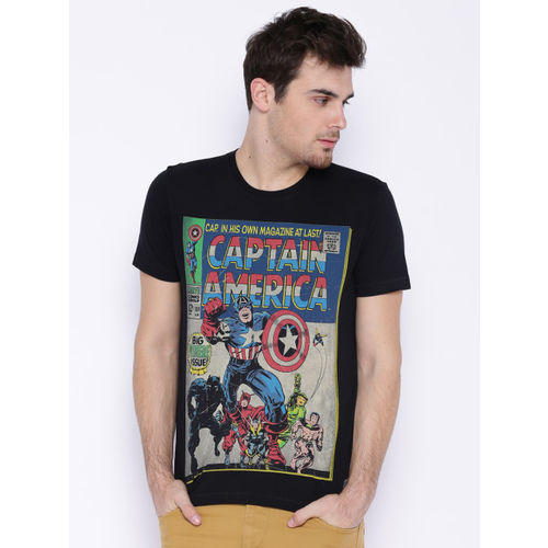Flying Machine Black Captain America Printed T-shirt
