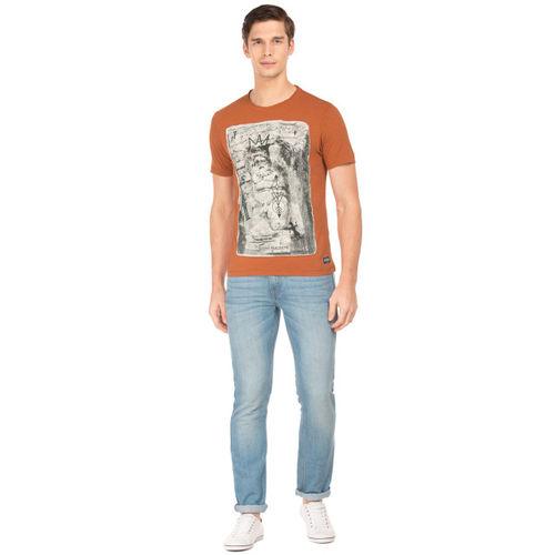 Flying Machine Men Brown Printed Round Neck T-shirt