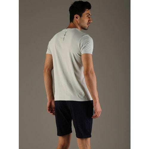 Flying Machine Men Grey Printed Round Neck T-shirt