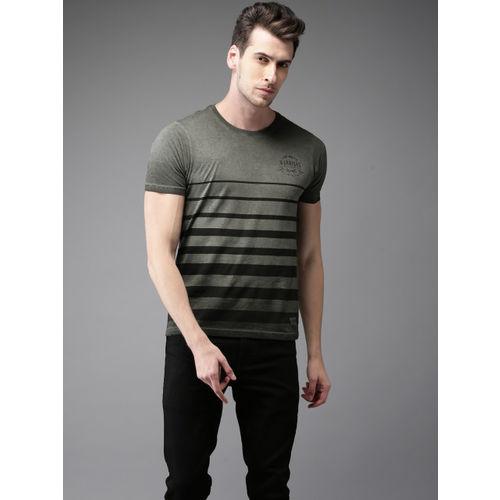 Flying Machine Men Grey & Black Striped Round Neck T-shirt