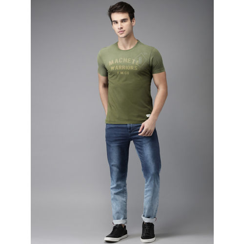 Flying Machine Men Olive Green Printed Round Neck T-shirt