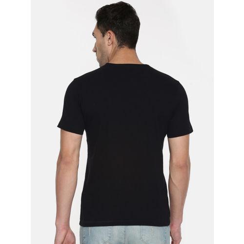 Flying Machine Men Black Printed Round Neck T-shirt