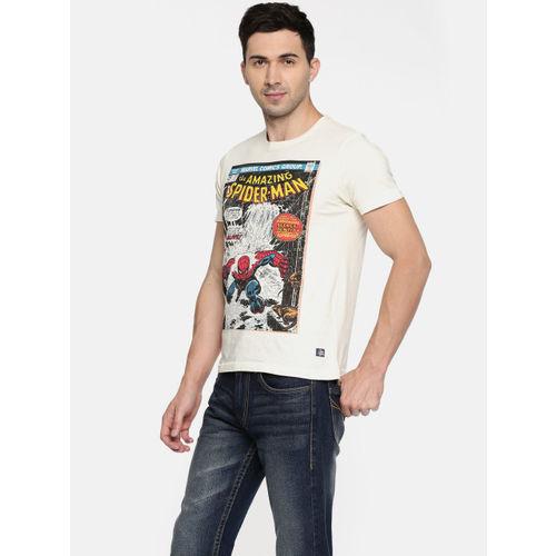 Flying Machine Men Off-White Printed Round Neck T-shirt