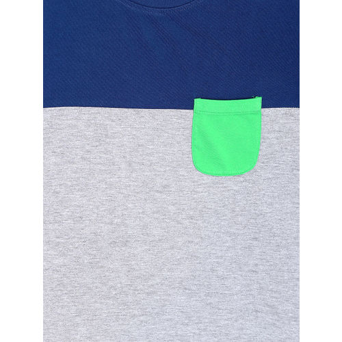 Flying Machine Men Grey Melange Panelled T-shirt
