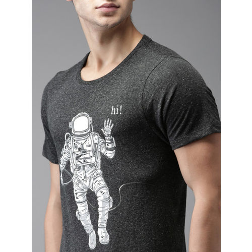 Flying Machine Men Charcoal Grey Printed Round Neck T-shirt