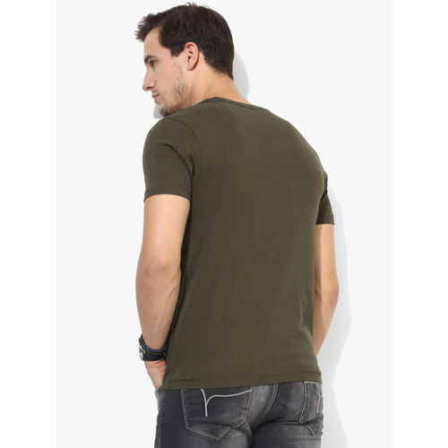 Flying Machine Olive Printed Slim Fit Round Neck T-Shirt