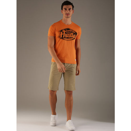 Flying Machine Men Orange Printed Round Neck T-shirt