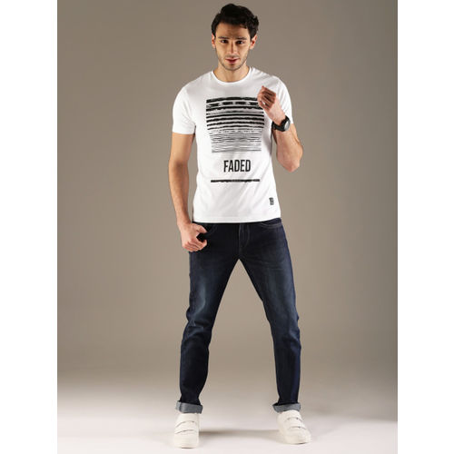 Flying Machine Men White Printed Round Neck T-shirt
