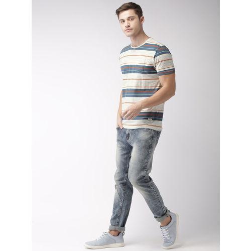 Flying Machine Men Off-White & Blue Striped Round Neck T-shirt