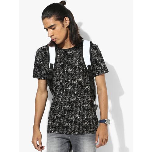 Flying Machine Black Printed Regular Fit Round Neck T-Shirt