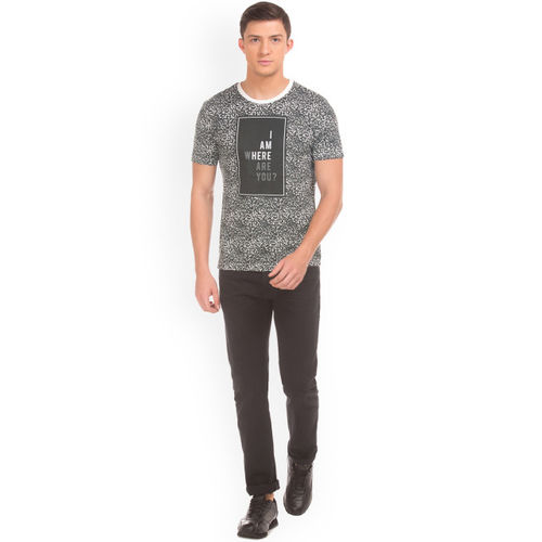 Flying Machine Men Grey Printed Round Neck T-shirt