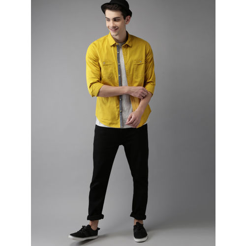 HERE&NOW Men Mustard Regular Fit Solid Casual Shirt