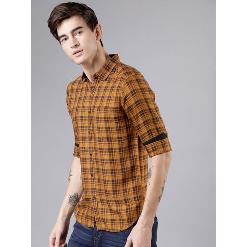 LOCOMOTIVE Men Mustard & Brown Slim Fit Checked Casual Shirt