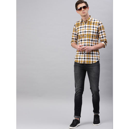 French Connection Men Mustard & White Slim Fit Checked Casual Shirt