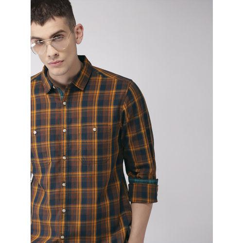 Harvard Men Mustard Yellow & Navy Blue Regular Fit Checked Casual Shirt