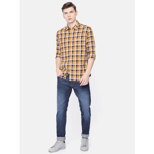 U.S. Polo Assn. Denim Co. Men Mustard Yellow & Navy Blue Regular Fit Checked Casual Shirt