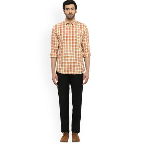 ColorPlus Men Mustard & White Tailored Fit Checked Casual Shirt