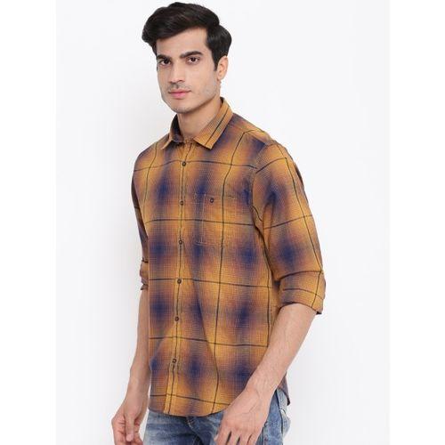 Blackberrys Men Mustard Yellow & Navy Slim Fit Checked Casual Shirt