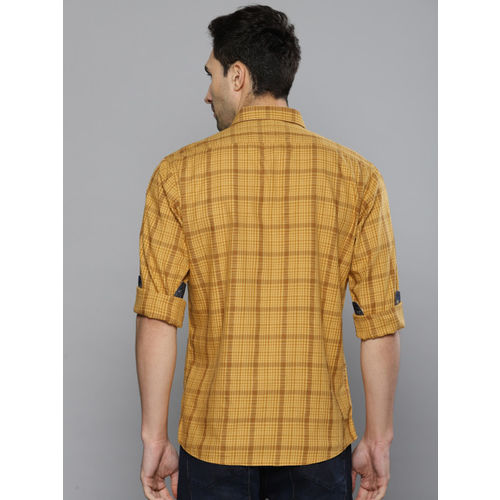 Louis Philippe Jeans Men Mustard Yellow Slim Fit Checked Casual Shirt