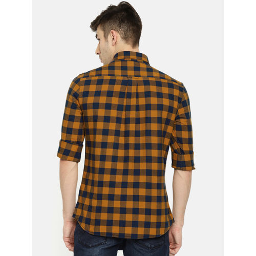 U.S. Polo Assn. Men Mustard Yellow & Navy Blue Tailored Fit Checked Casual Shirt