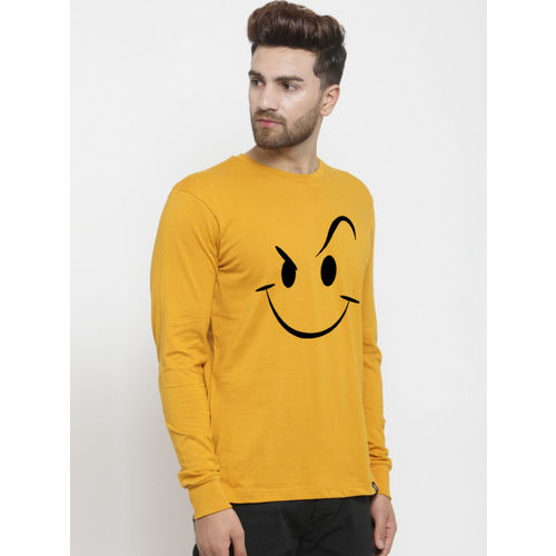 Friskers Men Mustard Yellow Printed Round Neck T-shirt