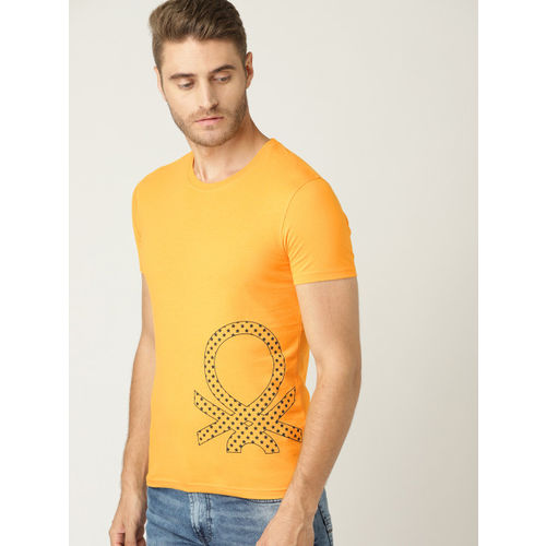 United Colors of Benetton Men Mustard Yellow Printed Round Neck T-shirt