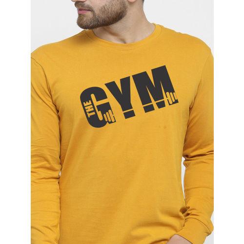 Friskers Men Mustard Yellow Printed Round Neck Slim Fit T-shirt