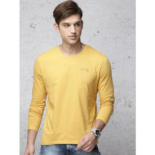 Ecko Unltd Men Mustard Yellow Solid Round Neck T-shirt