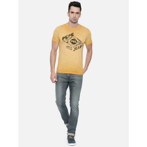 Pepe Jeans Men Mustard Yellow Slim Fit Printed Round Neck T-shirt