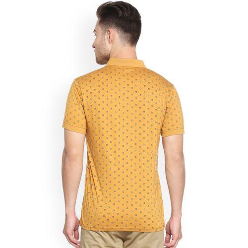 Allen Solly Men Mustard Yellow Printed Polo Collar T-shirt