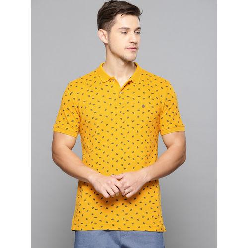 Louis Philippe Sport Men Mustard Yellow Printed Polo Collar T-shirt