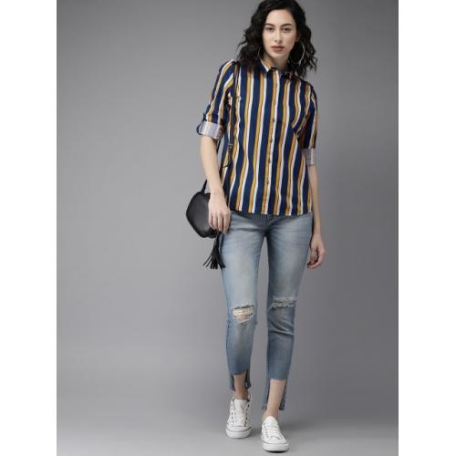 Moda Rapido Women Blue & Mustard Regular Fit Striped Casual Shirt