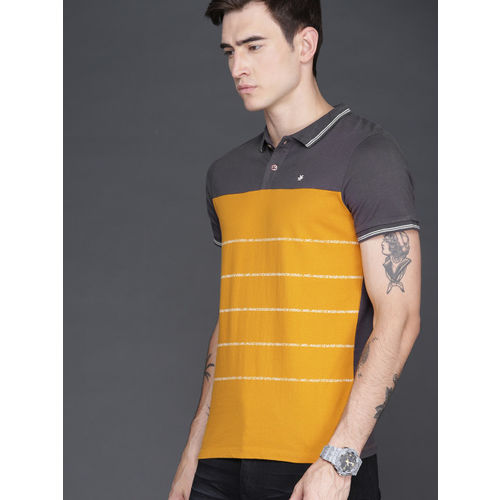 WROGN Men Mustard Yellow Slim Fit Striped Polo Collar T-shirt