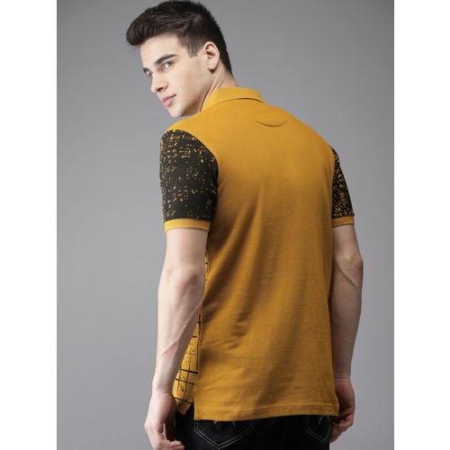 Moda Rapido Men Mustard Yellow & Black Printed Polo Collar T-shirt