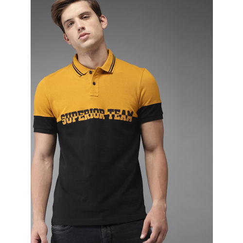 Moda Rapido Men Mustard Yellow & Black Colourblocked Polo Collar T-shirt