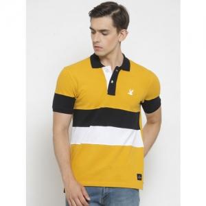 Monteil & Munero Men Mustard Colourblocked Polo Collar T-shirt