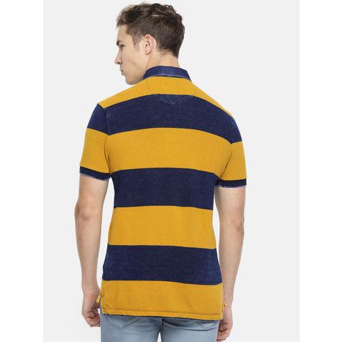 U.S. Polo Assn. Denim Co. Men Mustard & Navy Blue Striped Polo Collar T-shirt