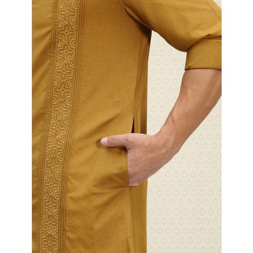House of Pataudi Men Mustard Yellow Embroidered Detail Straight Kurta