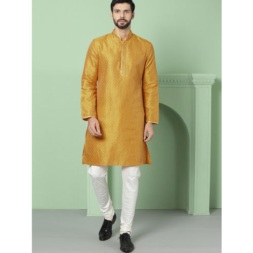 House of Pataudi Men Mustard Yellow Woven Design Straight Kurta
