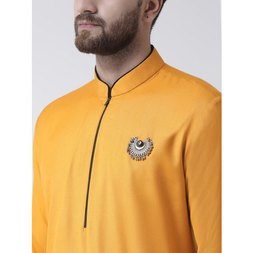 I Know Men Mustard Solid Straight Kurta