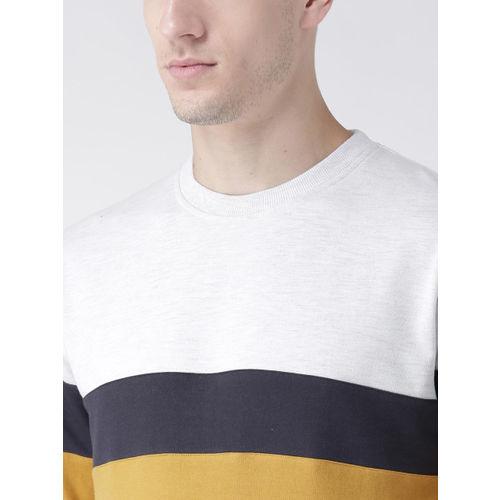 Club York Men Mustard & Navy Blue Colourblocked Sweatshirt