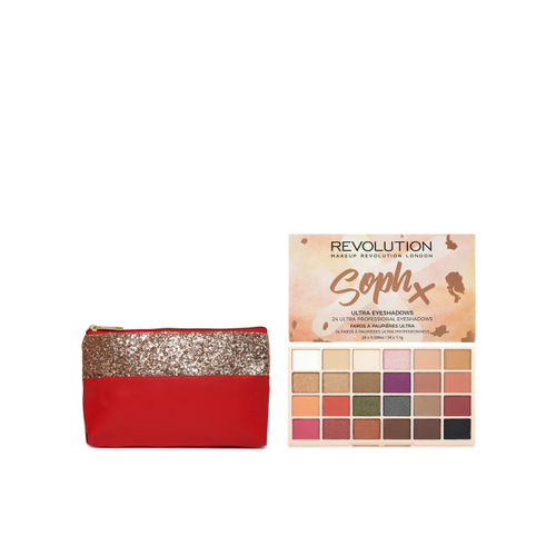 Makeup Revolution London Soph X Ultra Eyeshadow Palette & Red Embellished Pouch