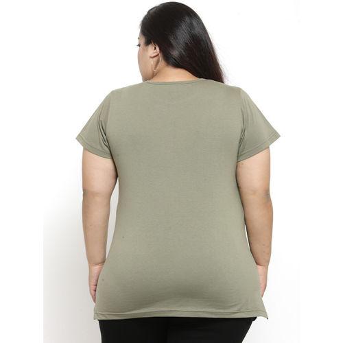 plusS Women Olive Green Printed Round Neck T-shirt