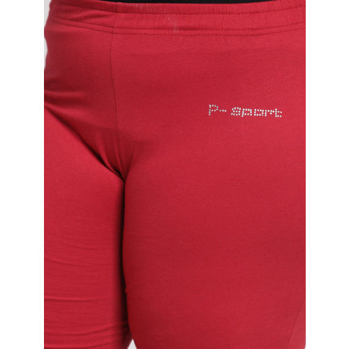 plusS Women Red Straight-Fit Trackpant