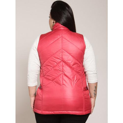 plusS Women Pink Solid Puffer Jacket