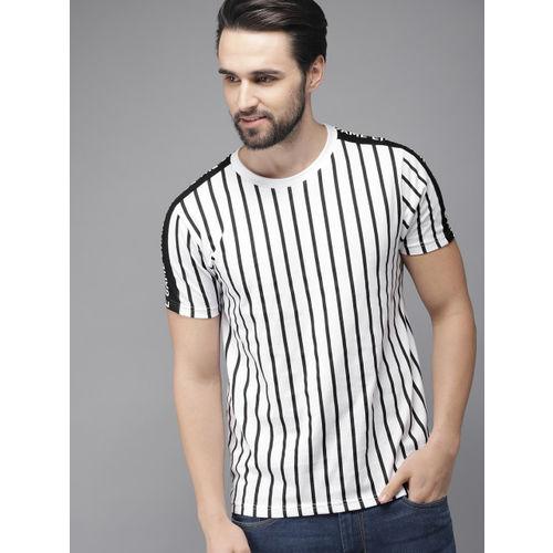 HERE&NOW Men White & Navy Striped Round Neck T-shirt
