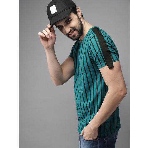 HERE&NOW Men Teal Blue & Black Striped Round Neck T-shirt